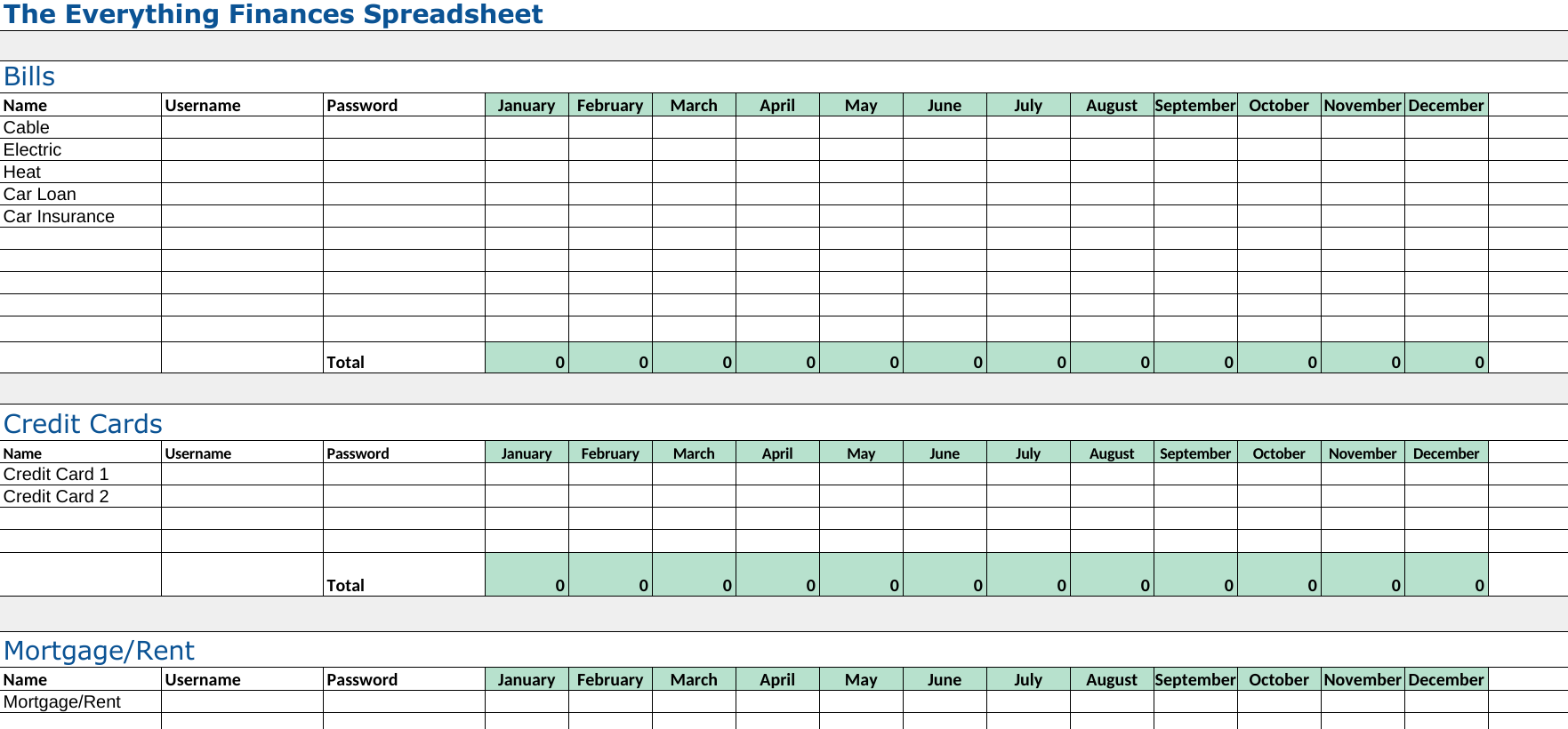 ... Tips for Your Virtual Life- Online Finance Printable and Spreadsheet