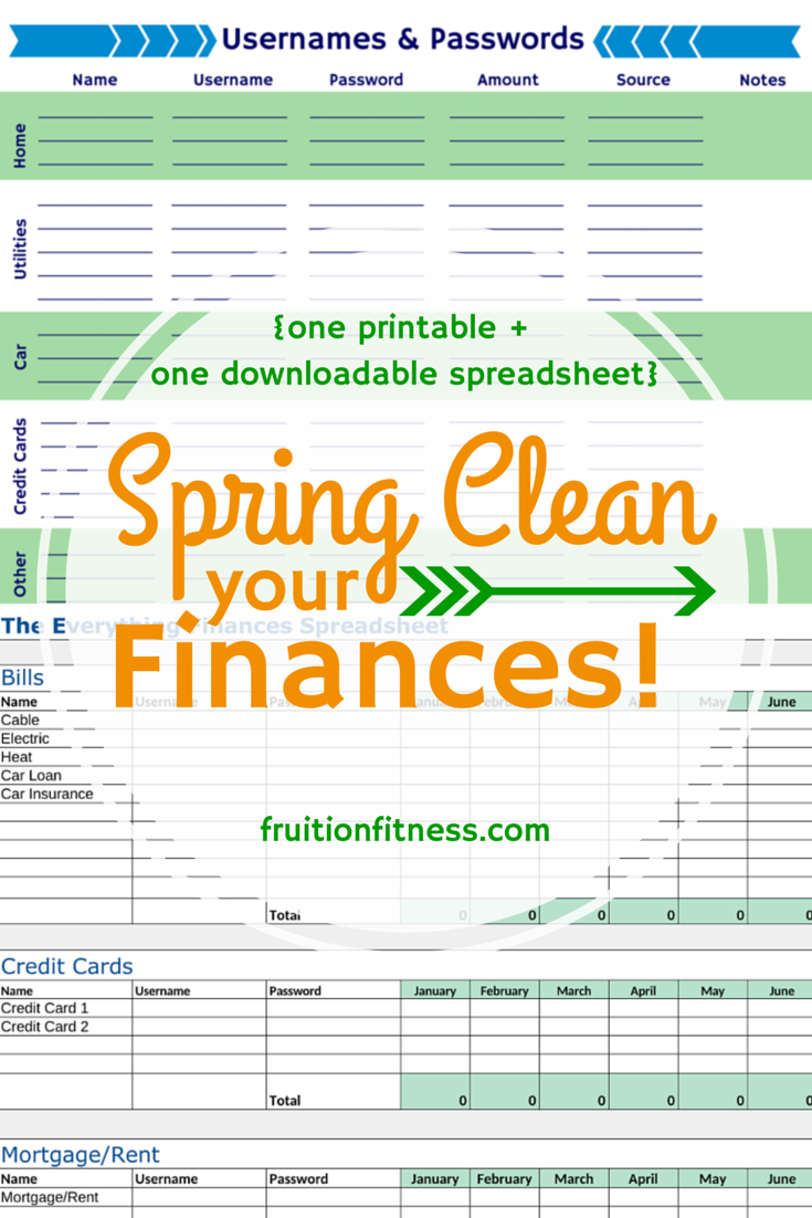 Spring Cleaning Tips for Your Virtual Life- Online Finance Printable and Spreadsheet